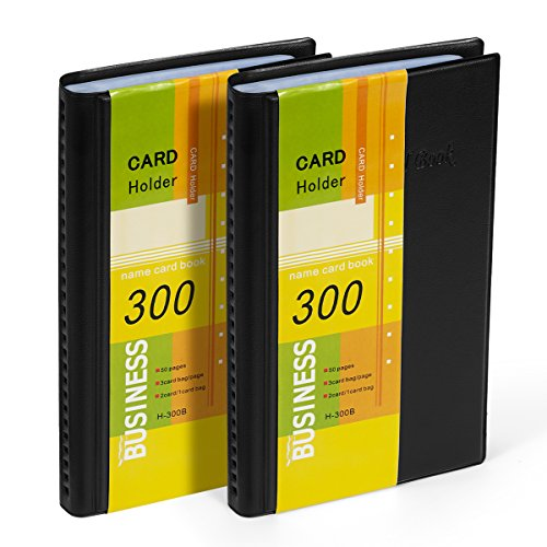 Business Card Holder Organizer Book - PU Leather, 2 Pack Total for 600 Business ()