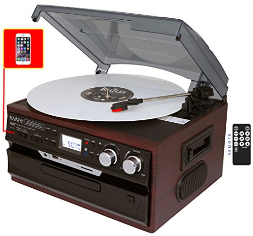7-in-1 Boytone BT-21DJM-C 3 Speed Turntable 33/45/78 RPM, Belt Drive, CD, Cassette Player AM/FM/ USB/SD Slot, Aux Input, 2 Built in Speaker. Encoding Vinyl & Radio & Cassette to-MP3.