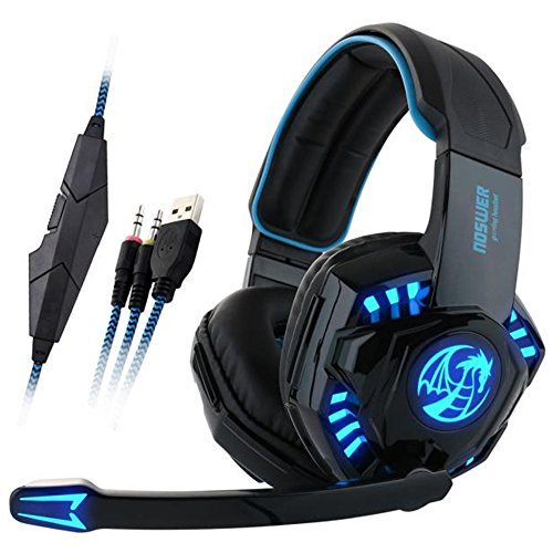 Professional Gaming Headset With LED Light,Ounice Noswer Surround Stereo Wired Gamer Headphone Headband Earphone USB 3.5mm with Mic for PC Phone (Black)
