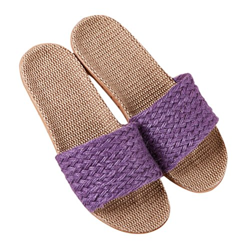 Flax Purple Slipper Wind Breathable toe House Unisex Home Slippers Beach Slipper Open Shoes Lightweight Bedroom Goal aaxZz