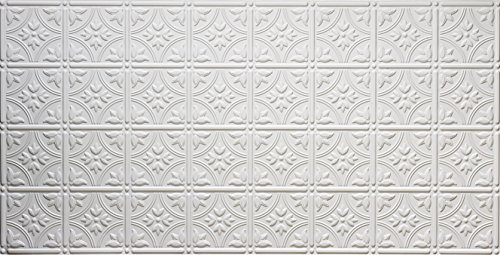 Global Specialty Products 209W Traditional Tin Style Panels For Glue-Up Installation, Matte White (Medallion Stamped)