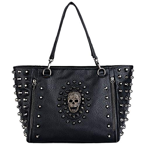 UTO Women Skull Tote Bag PU Washed Leather Rivet Studded Ladies Purse Shoulder Bag ()