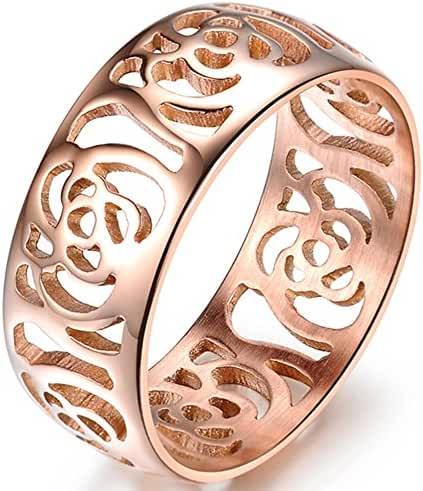 Women 8mm Vintage Stainless Steel Hollowed Out Camellia Japonica Flower Rose Gold Finger Band Dome Ring