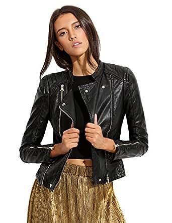 ROMWE Women's Classic Long Sleeve Zipper Leather Jacket Black XXL