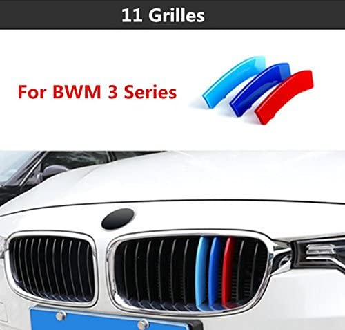 M-Colored Front Grille Insert Trims for BMW Grill Stripes Stickers Center Kidney Grill Cover Performance Stickers 3Pcs 3 Series 2013-2017 Sports Edition 8 Grille