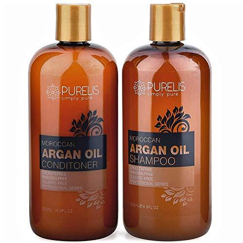 Purelis Argan Oil Shampoo & Conditioner Set, Extra Strength Formula with Keratin & Dead Sea Minerals. Restores Shine, Moisturizes Dry & Damaged Hair, Enhances All Hair Types HUGE 16.9 oz. Each.