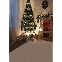 A.Monamour Christmas Holiday Party Wall Decoration Mural Pine Trees Sock Gifts Fireplaces 5x7ft Photography Backdrops Vinyl Indoor Lights On Pine Tree Floor