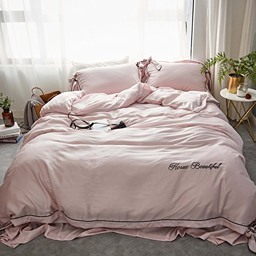 (Bedding Collections Four pieces of korean version of simple pure color 60s double-sided silk bedding spring and summer embroidery quilt cover sheet-A 200x230cm(79x91inch))
