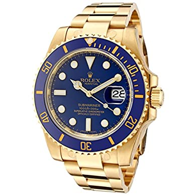 Rolex-Mens-Submariner-Automatic-Blue-Dial-Oyster-18k-Solid-Gold