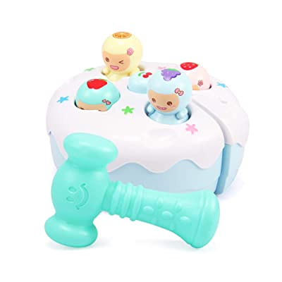 Alician Sound Light Fruit Cake Knocking Hamster Music Game Baby Toy Handheld Whack-a-mole Game Machine Blue Kid Toys: Toys & Games