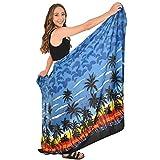 ISLAND STYLE CLOTHING Sarong Blue Palms Hawaiian Print