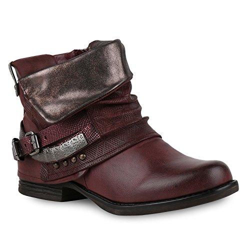 Stiefelparadies Damen Biker Boots Leder-Optik Stiefeletten Warm Gefütterte Booties Blockabsatz Winter Schuhe Winterboots Zipper Snake Print Flandell Dunkelrot Nieten Carlton