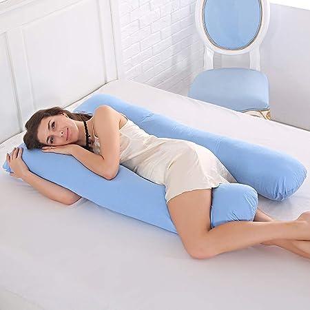 Purple Almohada de cuerpo para adultos almohada de apoyo para maternidad Shanna almohada de embarazo en forma de U con funda reemplazable y lavable 70 x 130 cm Pink algod/ón 70*130CM