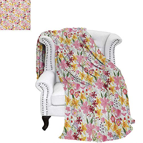(warmfamily Daffodil Summer Quilt Comforter Mixed Plants and Wildflowers Blooms Pattern Tulips Daffodil Endless Romantic Floral Art Digital Printing Blanket 62