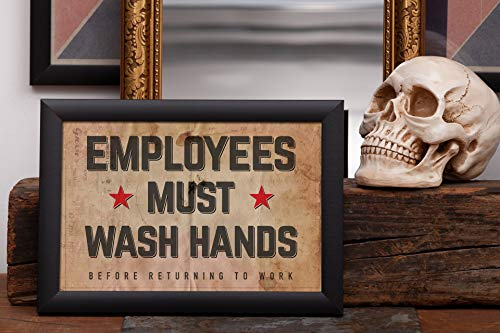 Employees Must Wash Hands Sign · Restaurant restroom sign, Bar restroom sign, Coffee shop restroom sign, Public Restroom Sign · Retro Lettering · Vintage Shabby Chic by Raghaus Studios