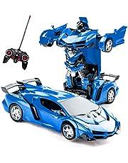Transformerande leksaker fjärrkontroll transformera bil 2 i 1 fjärrkontroll bilar för barn pojkar i åldrarna 5-8 deformeringsrobot RC bil för barn pojkar flickor