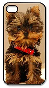 Art Fashion Black PC DIY Case for iPhone 4 Generation Back Cover Case for iPhone 4S with Cute Dog