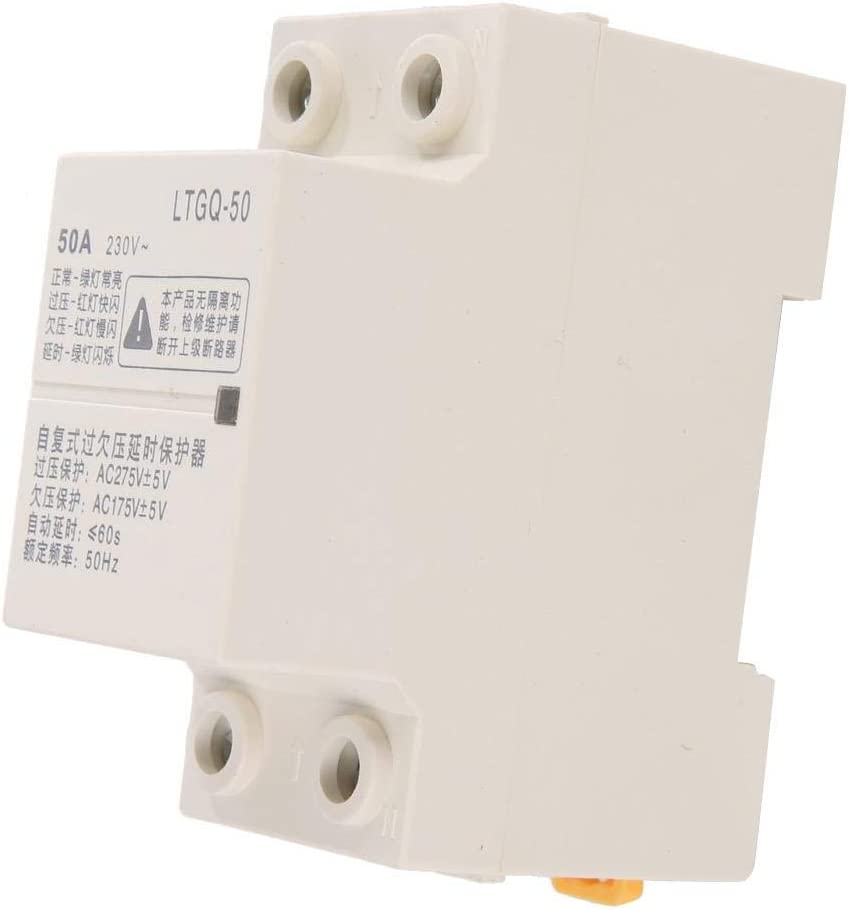 Voltage Protector Relay 2P 50A 230V AC Adjustable Automatic Reconnect Over Voltage and Under Voltage Protection Relay 50Hz