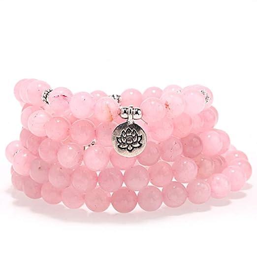 LZY Pulsera rosa Pulsera de yoga de moda Pulsera de piedra ...