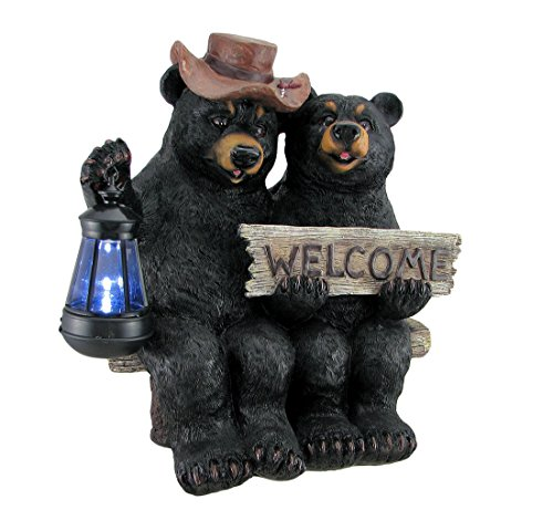 Zeckos Resin Outdoor Figurine Lights So Happy Together Black Bear Couple Solar Welcome Statue 14 X 14 X 9 Inches (Bear Welcome Statue)