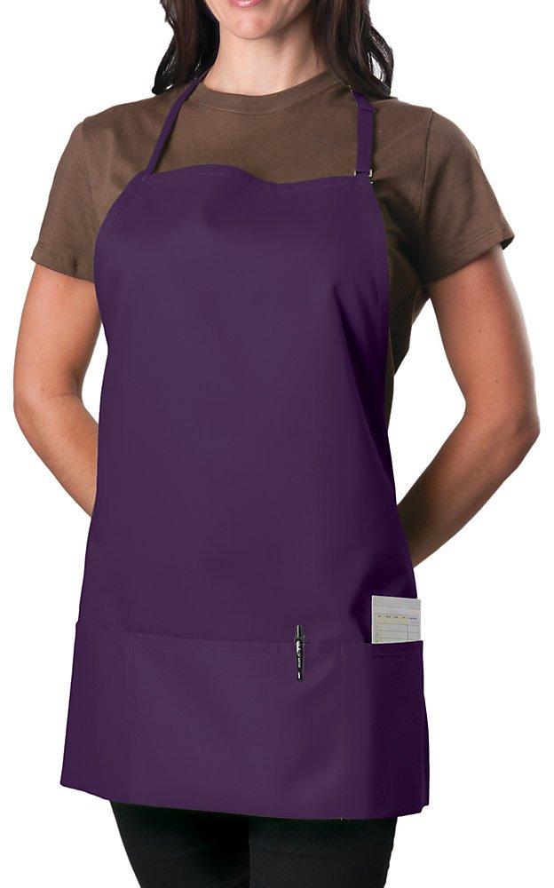 3 Pocket Adjustable Bib Apron, 27 inch, Purple, pack of 60