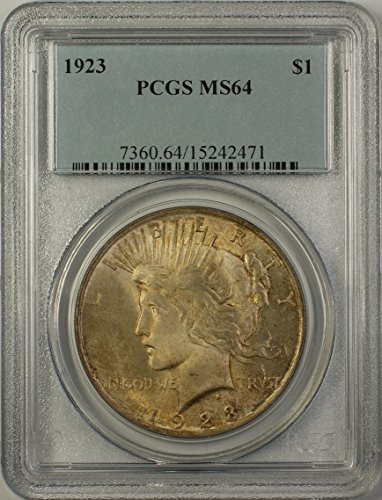 1923 Peace Silver Dollar Coin (ABR15-H) Toned $1 MS-64 PCGS
