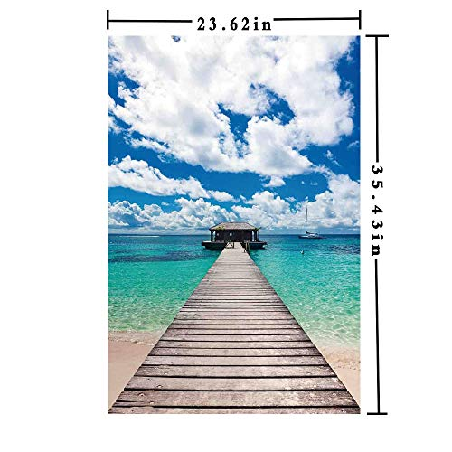 Removable Static Decorative Privacy Window Films 3D Printed, Caribbean Seascape with Jetty and Sail Boat Cloudy Sky Clear Exotic Ocean Both Suitable for Home and Office, 23.62 x 35.43 inch,Turquoise