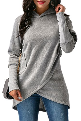 Amp Jacket (BETTE BOUTIK Womens Solid Color Asymmetric Hem Wrap Hoody Pollover Outwear Tops & Blouse Grey XX-Large)