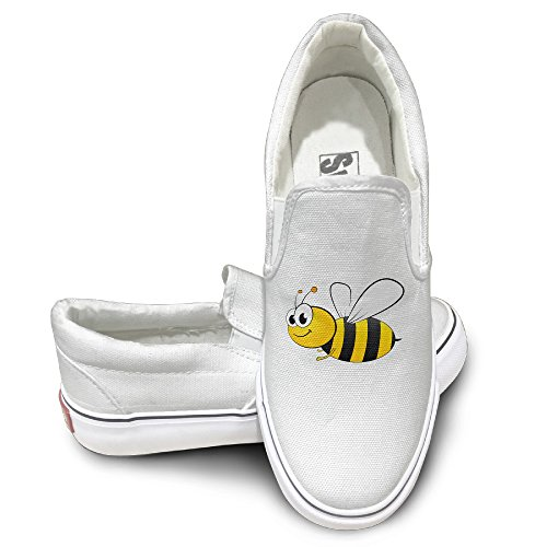 [PTCY Cartoon Cute Bee Athletic Unisex Flat Canvas Shoes Sneaker 38 White] (Bay Watch Costumes)