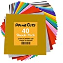 """Permanent Adhesive Backed Vinyl 40 Sheets - PrimeCuts USA - 40 Sheets 12"""" x 12"""" - 40 Assorted Color Sheets for Cricut, Silhouette Cameo, and Other Craft Cutters"""