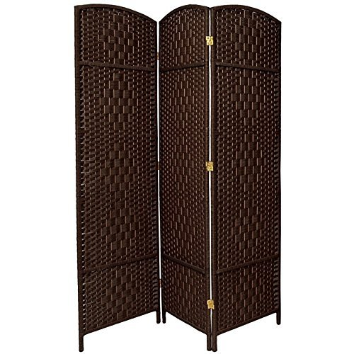 3 Panel Diamond Room Divider - Attractive 6' Tall Weaved Fiber Room Divider, 4 Medallion Diamond Weave on Each Panel, Natural Fiber Design, Beautiful Bent Wood Arched Top, 3 Panels, Chocolate + Expert Home Guide by Love US