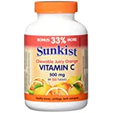Sunkist Chewable Vitamin C Tablet, Juicy Orange, 500mg