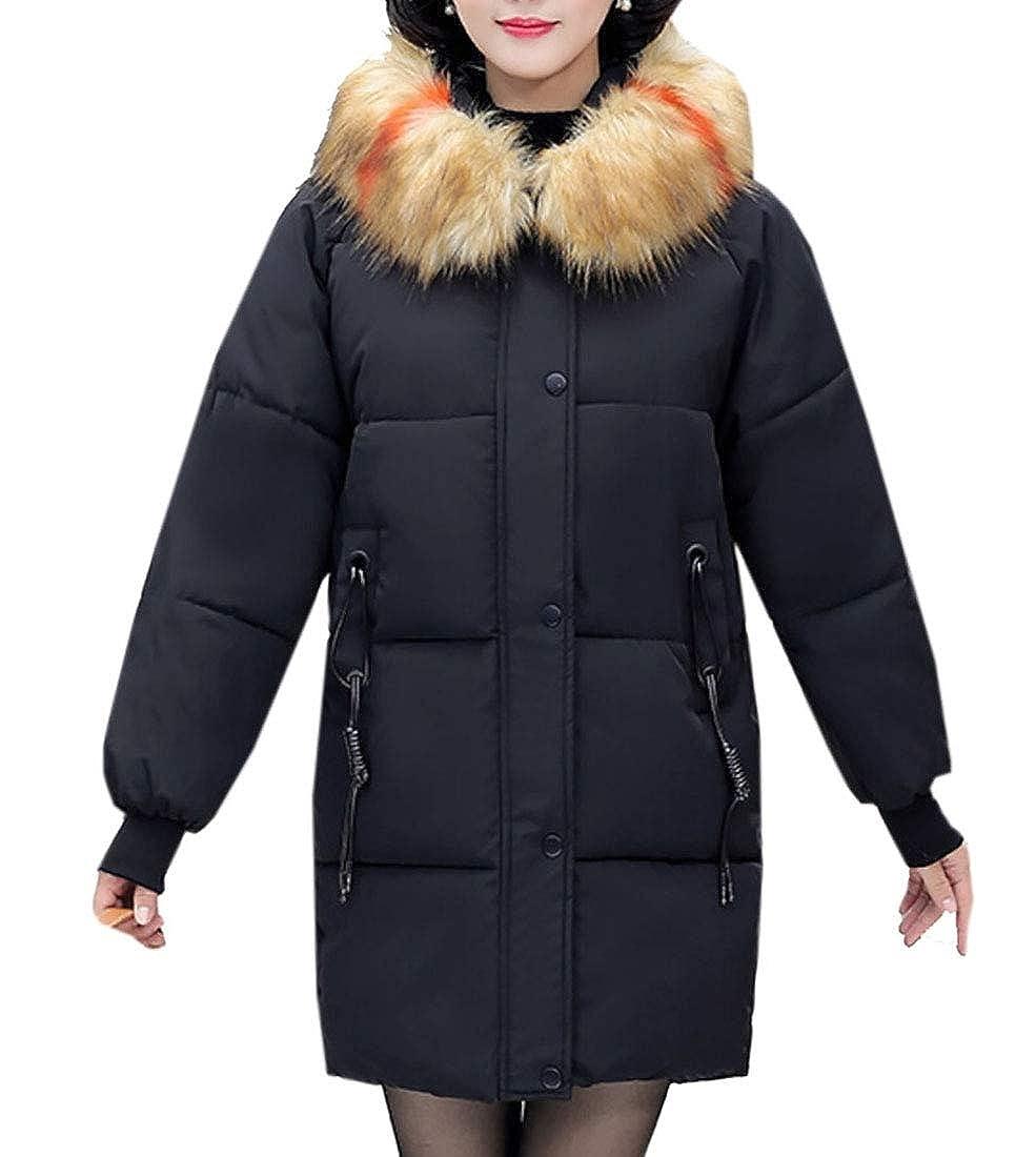 Black Keaac Women's Faux Fur Hood Long Coat Puffer Thicker Down Jacket Coat