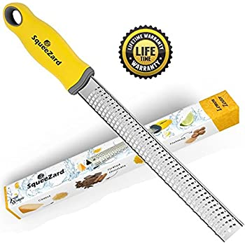 Cheese Grater, Lemon Zester - Professional Kitchen Tool - Stainless Steel Blade for Citrus, Lime, Parmesan Cheese, Garlic, Nutmeg, Ginger, Coconut - Yellow