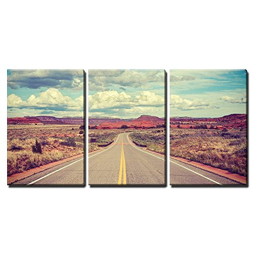 (wall26 - 3 Piece Canvas Wall Art - Vintage Stylized Desert Road, Travel Concept. - Modern Home Decor Stretched and Framed Ready to Hang - 16