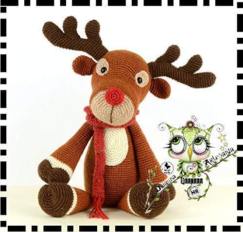 Tejer patrón-Rudolph El Reno Navidad Juguete Suave//Decoración XK1