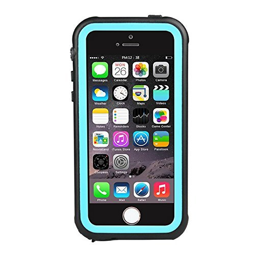 iPhone SE Waterproof Case, LYNXTECH IP68 Standard Protection Dirtpoof Shockproof Snowproof and Waterproof Case for iPhone SE 5s 5 (Aqua Contact Lenses)
