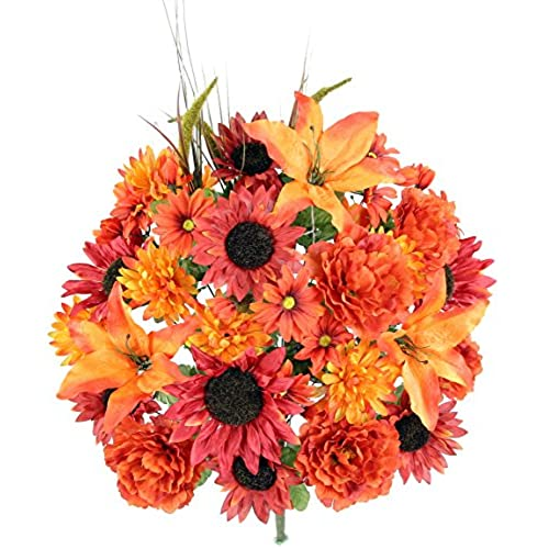 Mums flowers amazon admired by nature 36 stems home officeweddingrestaurant decoration arrangement lilypeonysunflowerdaisymum greenery with foliage mixed flowers bush mightylinksfo