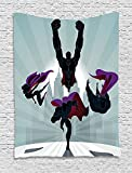 Superhero Tapestry, Superhumans Team Heroine on Mission Partners in Crime Pride Print, Wall Hanging for Bedroom Living Room Dorm, 60 W X 80 L Inches, Dark and Light Blue Purple