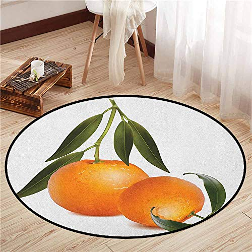 Tangerine Stair Tread - Living Room Area Round Rugs,Green and Orange,Fresh Tangerine with Green Leaves Citrus Fruit Themed Illustration,Anti-Slip Doormat Footpad Machine Washable,4'3