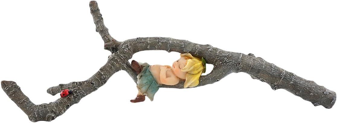Top Collection Miniature Fairy Garden and Terrarium Garden Sprite Napping on Tree Branch Statue