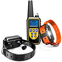 Dog Training Collar, F-color Waterproof Rechargeable Dog Shock Collar 2600ft Remote Range with Beep Vibrating Shock LED Light for Meduim and Large Dogs, 2 Electronic Dog Collar Receivers Included