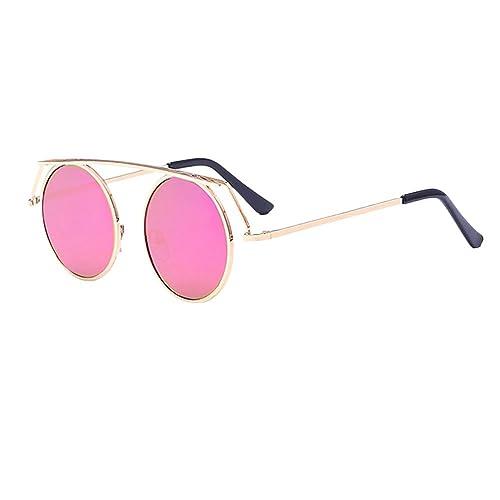 Zhhlinyuan Casual Gafas Colorful Film Round Frame Sunglasses Special Sunglasses UV400 for Men Women