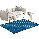 Carpet,Circles with White Polka Dots Ancestral Folk Evil Eye Style Tile,Non Slip Rug Pad,Dark Blue Teal White 48'x70'