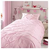 ZIGGUO Girls Duvet Cover Twin, Blush Pink Duvet Cover Set for Baby Teen Girls Bedroom, Cute Ruched Pinch Pleated Pintuck Style Duvet Cover, Cotton Blend, 69 by 90 Inch