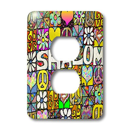lsp_46426_6 Lee Hiller Designs Judaica - Retro 60s Psychedelic Shalom Love Peace Symbol Art Print - Light Switch Covers - 2 plug outlet cover