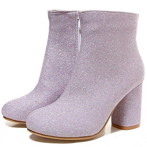 COOLCEPT Damen Retro Blockabsatz Booties Stiefel Herbst Zipper Purple