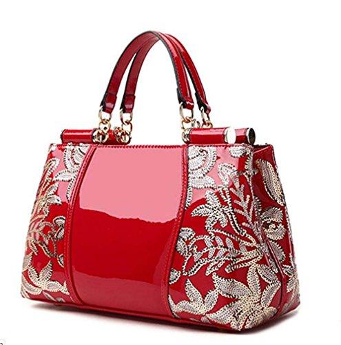 Fourre Main Verni Designer Femmes red Grand PINCHU Multi À Sac Cuir Poches Tout En nBS1fI