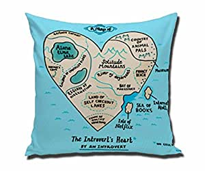 HSArtStore A Map of the Introvert's Hear Cotton linen decorative pillow pad cover square box 18 x 18 inch