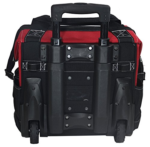 Husky GP-44316AN13 14'' 600-Denier Red Water-Resistant Contractor's Rolling Tool Tote Bag with Telescoping Handle by Husky (Image #4)
